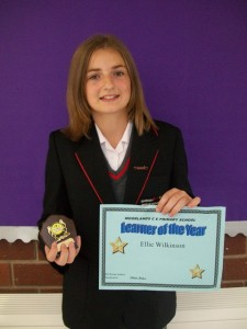 Learner of rthe year for Waveney School 2012. Miss ellie Wilkinson with her shield