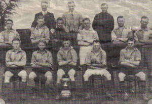 Belton football team 1938 - 39 season . Mr Ernie middleton seated on the bottom row on the right