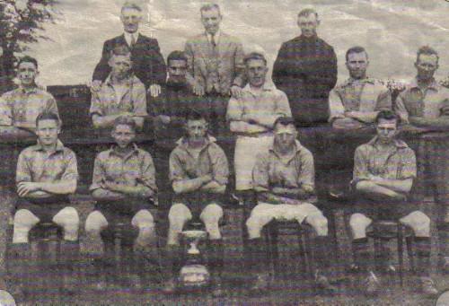 Belton football team 1938 - 39 season . Mr Ernie middleton seated on the bottom row on the right
