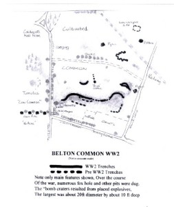 The trenches of Belton common during WWII