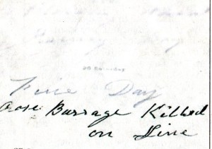 The Entry for the death of Rose Burrage on the Great Eastern Railway