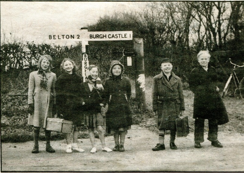 Children on the traditional Good Friday walk to Old Mother Brown's at Burgh Castle in 1958