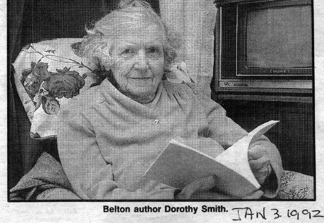 Belton author Miss Dorothy Smith with her book in 1992